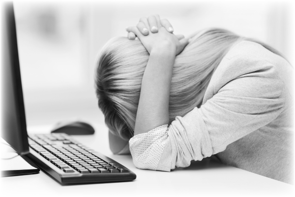 Frustrated Women On Computer CEO Learning